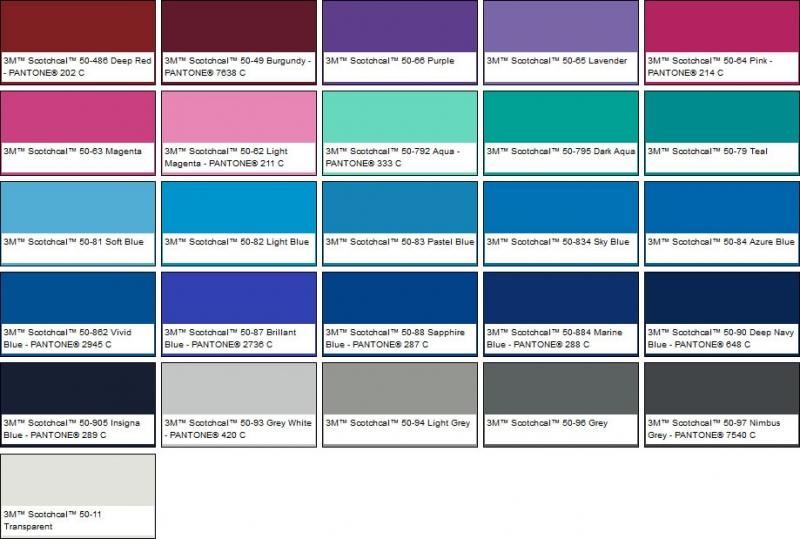 3m scotchcal opake farbfolie serie 50 gl nzend farbig. Black Bedroom Furniture Sets. Home Design Ideas