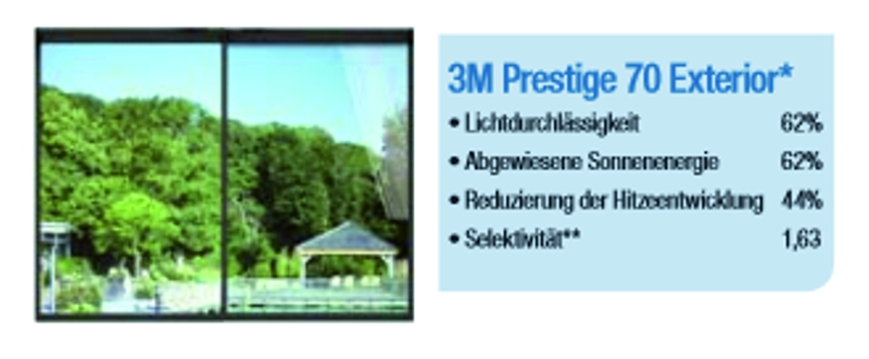 3m sonnenschutzfilm prestige 70 exterior 30 5m x 1524mm rolle 3m folien rollenware trend. Black Bedroom Furniture Sets. Home Design Ideas